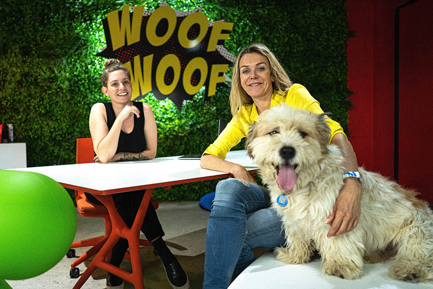 Founder Joanne Lefson and team member Bianca at SUPERWOOF dog hotel